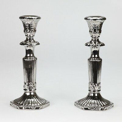 Pair NEW Vintage Antique style Silver plated Porcelain Candle Stick 27cm / 10""