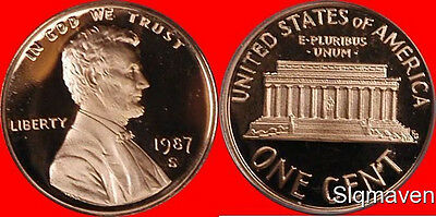 1987 S Lincoln Cent Deep Cameo Gem Proof