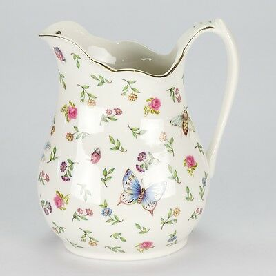 Vintage Royal Albert Style porcelain Jug Pitcher Flower butterfly Shabby Chic
