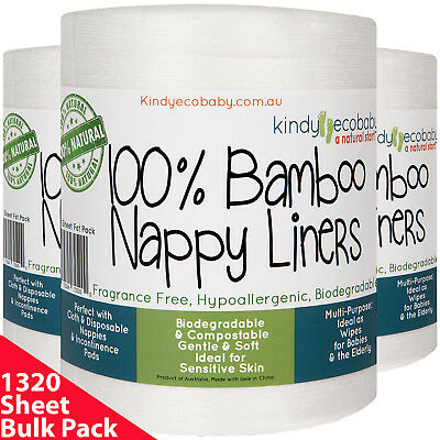 1200 Bamboo Cloth Nappy Liners, Inserts, baby diapers, biodegradable, flushable