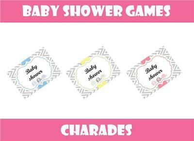 BABY SHOWER Party Games CHARADES Boy Blue Girl Pink Neutral Yellow 28 words Game