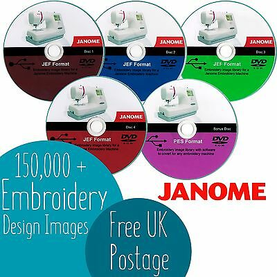 Over 150,000+ Janome JEF Embroidery Designs Images 4 DVD Plus Free Bonus DVD **