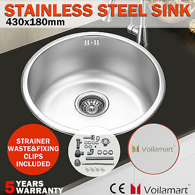 Round Stainless Steel Kitchen Sink Laundry Catering Single Bowl Plumbing Drainer
