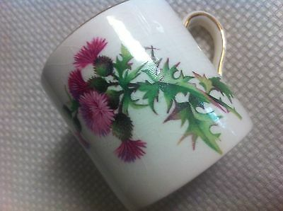 Royal Winton Grimwades small tea coffee cup white gold Milk Thistle pink England