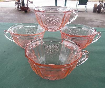 Set 4 Mayfair Pink Depression Glass Open Rose Tea Cups  Anchor Hocking Tea Party