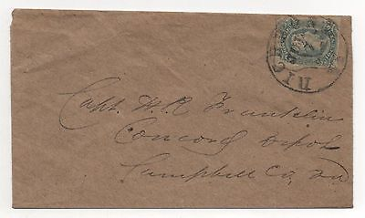 CSA Cover Scott #11 Capt N R Franklin Concord Depot Campbell CO VA Richmond