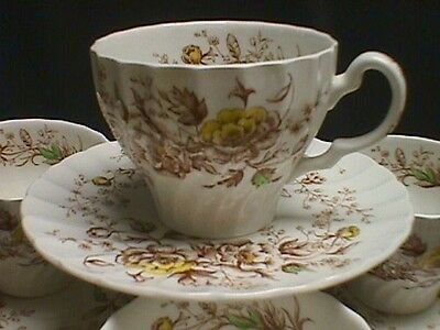 Wood & Sons England Summer Spray Cups & Saucers - 4 Sets
