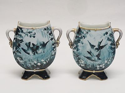 EXTREMELY RARE PAIR OF ANTIQUE 19c  FRENCH GIBUS & REDON LIMOGES PORCELAIN VASES