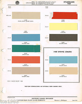 1961 STUDEBAKER Color Chip Paint Sample Brochure/Chart: PPG Ditzler