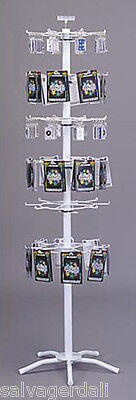 48 Peg 6 Tier Floor Spinner Rack Chains Toys Patches Display Fixture White NEW