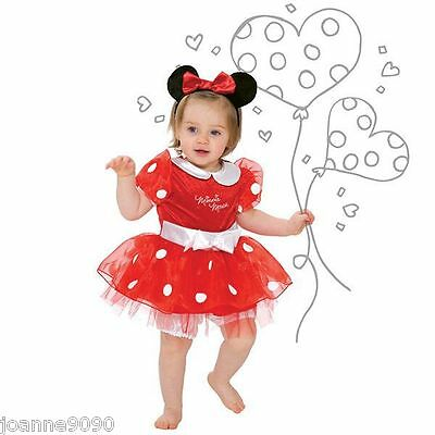 Girls Baby Toddler Red Disney Minnie Mouse Fancy Dress Costume Outfit & Headband