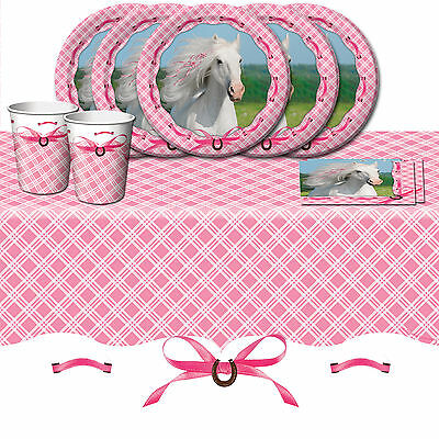 Heart My Horse Pony Children's Birthday Party Tableware Pack Kit For 8