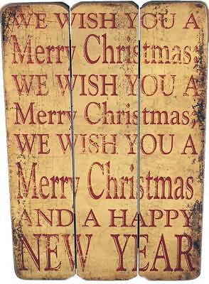 We Wish You A Merry Christmas Large Wall Plaque Distressed Shabby Chic Picture