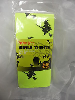 Neon Yellow Tights With Black Witches On Broomsticks Book Week  Fancy Dress 7-10