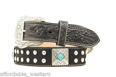 Silver TURQUOISE CONCHOS & Buckle ~BLACK HAIR Leather ~ WESTERN BELT- NOCONA 14