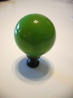 Vtg GREEN Porcelain ceramic Brass base Cabinet Door Knobs Drawer Pulls Handles