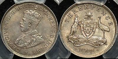 Australia 1911 Threepence 3d PCGS MS64 Choice Uncirculated