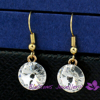 9K Yellow GOLD GF Solitaire DANGLE EARRINGS with  CRYSTAL 8045