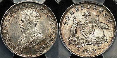Australia 1919m Threepence 3d PCGS MS62 Uncirculated