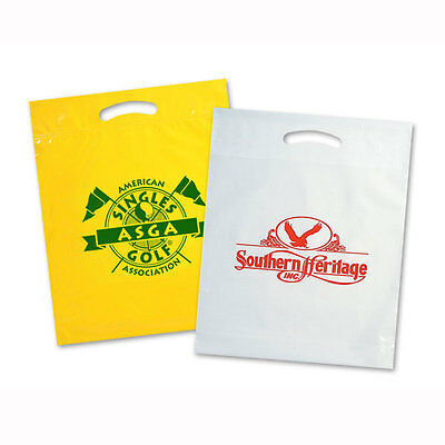 """PLASTIC BAGS, Size 12""""x15""""x3"""" - 500 quantity - Custom Printed with Your Logo"""