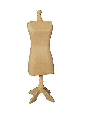 Plain Wood Dressmakers Dummy, Dolls House Miniature Sewing Accessory