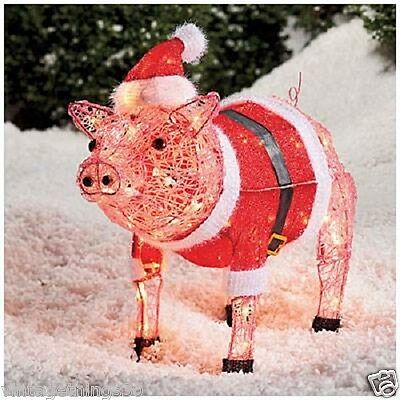 Outdoor holiday christmas lighted nativity scene yard art for 3 d lighted christmas pig holiday outdoor decoration