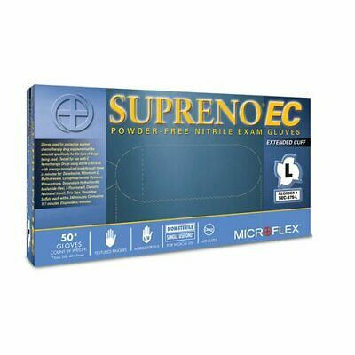 Supreno® EC Extended Cuff Nitrile Exam Gloves Large 50 bx