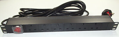 "6 way UK PDU + *5M LEAD* 1U 19"" Horizontal Rackmount Power Distribution Unit"