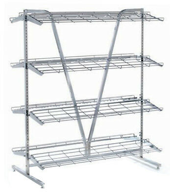Double Sided Retail Shoe Display Rack Store Fixture 8 Shelf 48 Pairs Chrome NEW