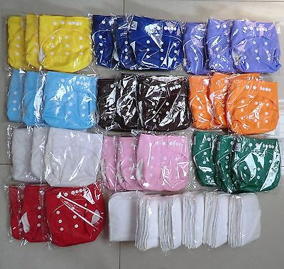 10 Pcs Adjustable Reusable Washable Baby Cloth Diaper Nappy+12 inserts Baby City