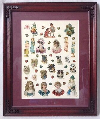 Framed Victorian Valentine Card Die Cutouts Collage Girls Dogs Flowers