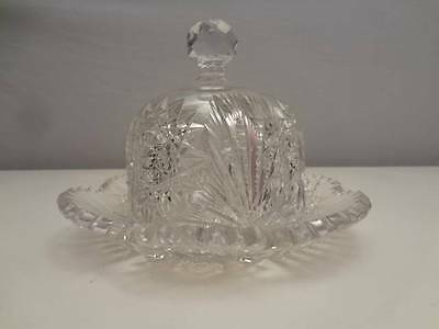 BEAUTIFUL American Brilliant Cut Glass COVERED BUTTER DISH Fan & Star Dome ABP