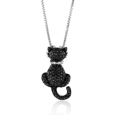 0.25 Carat Enhanced Black & Natural Diamond Cat Pendant In Sterling Silver -18""