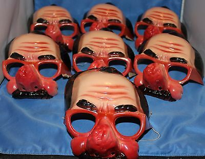 Vintage Halloween NOS Lot of 7 Topstone Disguise Masks Glasses Mustache  '70s