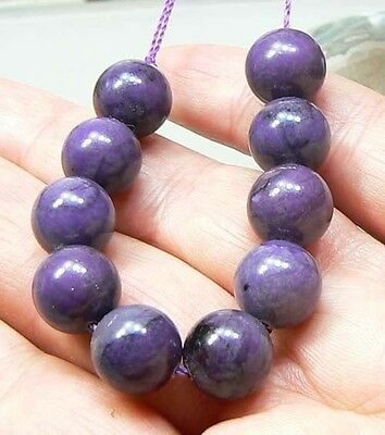10 RARE NATURAL AFRICAN PURPLE SUGILITE ROUND BEAD STRAND 10mm 77.5ct