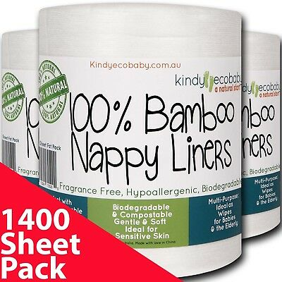 1400 x Bamboo Liners Flushable, nappy diaper liners, no chemicals, Biodegradable