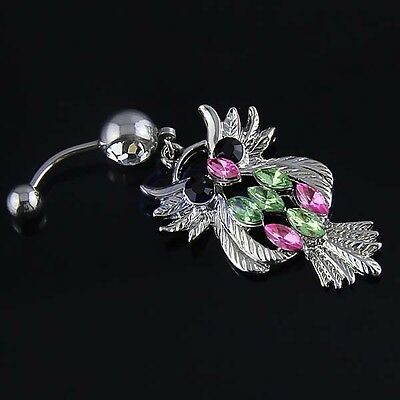 Retro Vintage Cute lovely Multi Colored Owl Belly Ring JW517