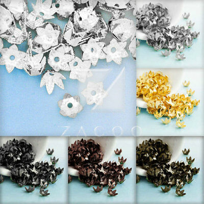 10g(100-160pcs) Iron Flowers Cone Beads Caps Findings Wholesale 7x7mm BWBC39-97
