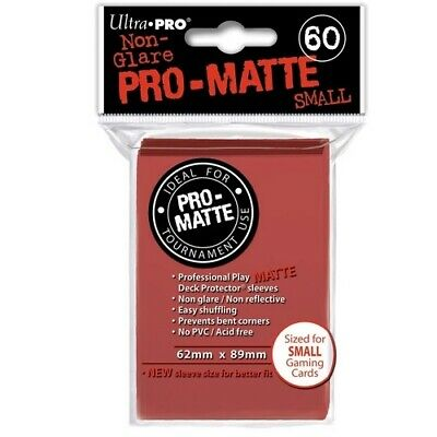ULTRA PRO 60 PRO MATTE-SMALL SIZE RED DECK PROTECTOR SLEEVES 84263 fit YuGiOh