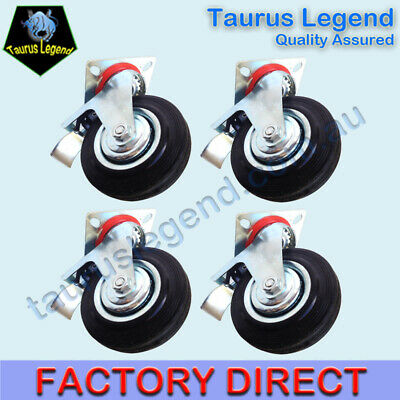 "4 X 5"" 125mm HEAVY DUTY SWIVEL CASTORS with Brakes Loading 90kg Per Castor Wheel"