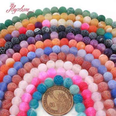 """8mm Round Cracked Frost Agate Gemstone Beads For Jewelry Making Loose Strand 15"""""""
