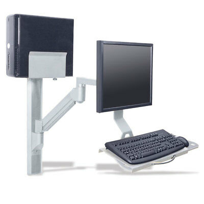 """31"""" Wall Track with Folding Keyboard, Monitor Arm, and CPU Holder 1 ea"""