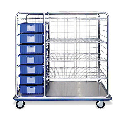 """Divider Box Cart 60"""" Combo with Wire Shelves  66""""W x 26.5""""D x 66.5""""H 1 ea"""