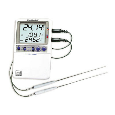 Traceable Hi-Accuracy Dual Control Thermometer Two Stainless-Steel Probes 1 ea