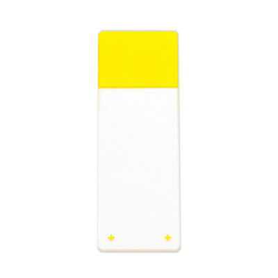 Charged White Glass Slides Yellow  Clipped Corners and Beveled Edges 1440 pk