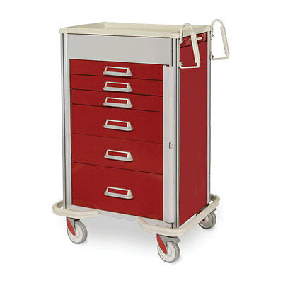 """Red/Red Elite Emergency Cart with Gate Lock  6-Drawer (three 3"""", two 6"""", one ..."""
