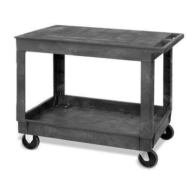 Large 2-Shelf Utility Cart with Flat Top and Lower Shelf with Raised Sides  4...