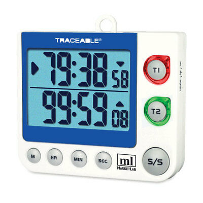 Traceable Flashing LED Alert Big-Digit Dual Channel Timer 1 ea