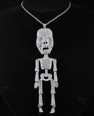 Halloween 6-Inch Skeleton Clear Austrian Rhinestone Long Necklace Pendant N1593