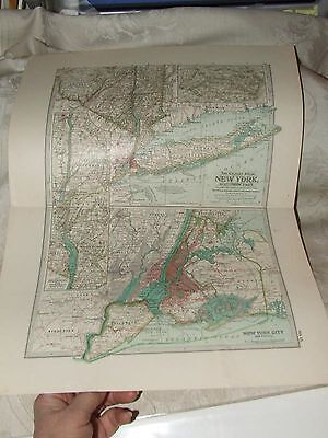 1897 MAP of NEW YORK Southern Part #11 Century ATLAS 12 Color Litho Engraving